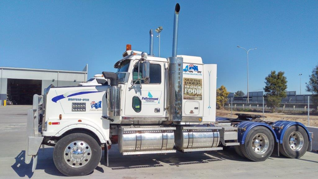 FOLLOWMONT TRANSPORT DONATES WESTERN STAR PRIME MOVER.