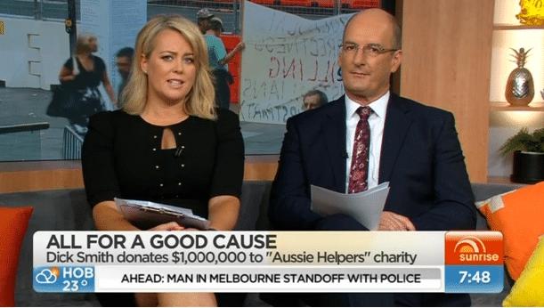 MEDIA SUNRISE Channel 7 (15/12/15) Kochie & Samantha Armytage interview Dick Smith & Brian Egan for Aussie Helpers $1 million dollar donation