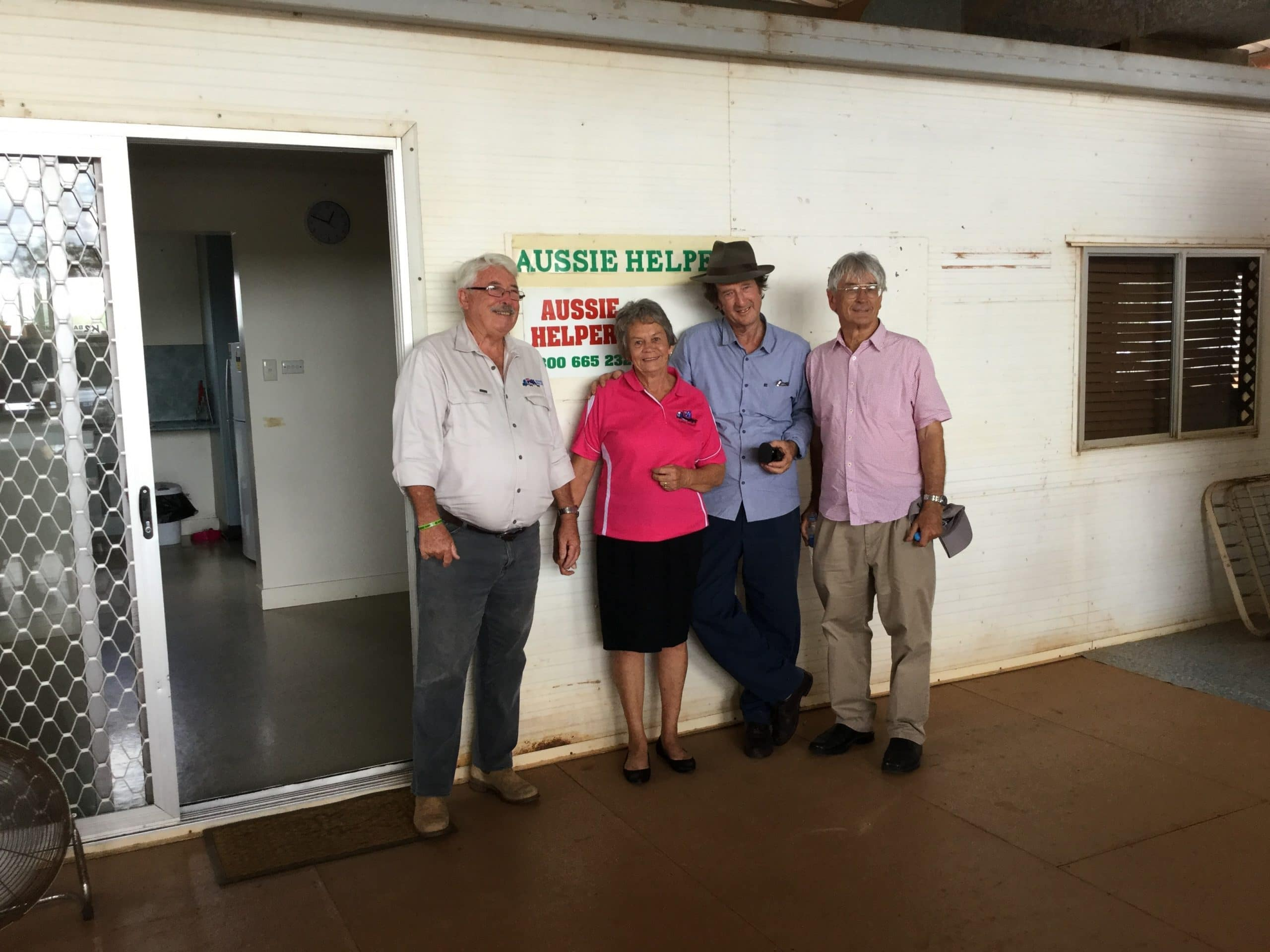 Dick Smith and Ian MacNamara ( Macca )fly in to visit Aussie Helpers in Charleville.