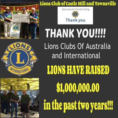 LIONS CLUBS REACH THEIR MILLION DOLLAR GOAL!!