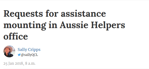 Requests for assistance mounting in Aussie Helpers office -Queensland Country Life 25/01/2018