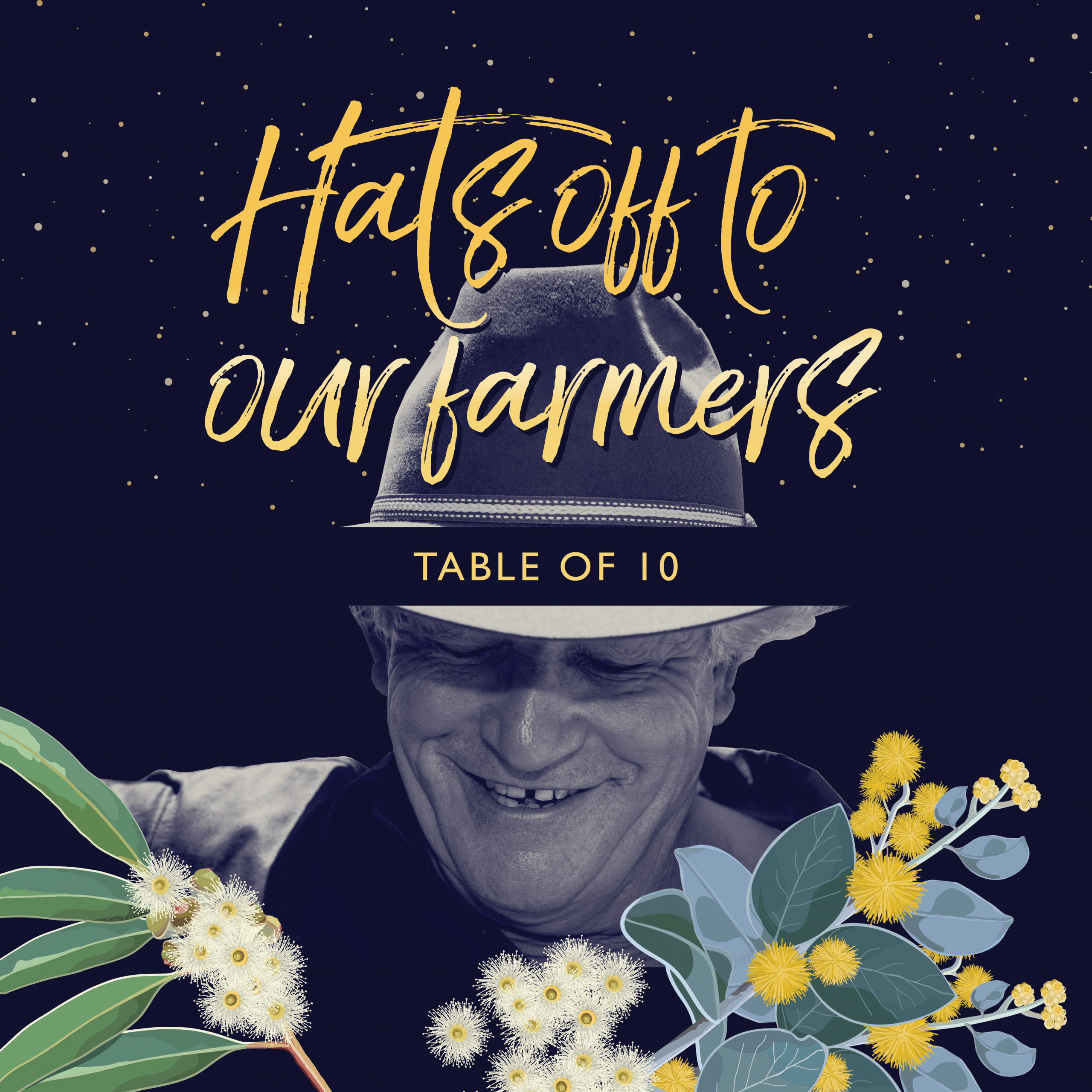 Image of Hats off to our farmers table of 10
